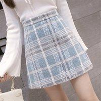Women's Shorts High-waist wool skirt for women, Korean-style plaid skirts, short hips, women's miniskirts, jupe, plus size CSMU