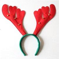 Boynuz şekli Noel boynuz saç bandı çocuklar ve kızlar için kırmızı bebek parti bandı, altı küçük çan, yüksek kaliteli DSF0683