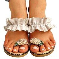 Slippers OKKDEY Large Size Women's Online Celebrity Pineapple Flat Beach Toe Shoes