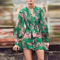 Vestidos casuales elegante arco manga larga verde floral impreso para mujeres 2021 otoño pista diseño vintage mini vestido de mujer gasa