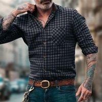 Men's Dress Shirts Cardigan Classic Long Sleeve Retro Men Shirt Top Casual For Daily Wear