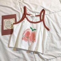 Women's Tanks & Camis Sexy But Cute Girly Peach Print Fresh Sling Bottoming Vest Short Cropped Summer High-waist Top Kawaii Streetwear