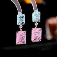 Square Zirconia Dangle Earrings Women Wedding Party Jewelry Fashion Korean Ice Cracked Crystal Simple Geometric Drop Earring