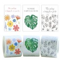 3 인쇄 된 꽃과 리프 롤링 패키지 접착 스티커 라벨 사각형 셀프 씰링 포장 스티커