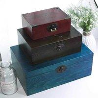 Boîte de rangement de bijoux en bois de style égyptien Zakka Vintage pour cadeau Petit métier en bois pour organisateur décorations de bureau Packaging 210626