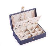 المحمولة بو المجوهرات مربع منظم عرض السفر حالة التعبئة والتغليف مربعات زر جلدية تخزين سستة