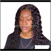 Водная волна вьющиеся фронт человеческие волосы для чернокожих женщин BOB длинные глубокие фронтальные бразильские мокрые и волнистые HD Fullsers Glpoi Wusar FXWZG