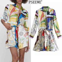 Pseewe Bahar Elbise ZA Baskı Mini Gömlek Elbise Kadınlar Vintage Kemer Uzun Kollu Kısa Elbiseler Kadın Düğme Yukarı Günlük Elbiseler 210325