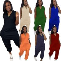 Women plus size Jumpsuits Rompers summer fall clothing sexy club sleeveless v-neck solid color pocket leggings full-length pants sportswear bodysuits stylish 01619