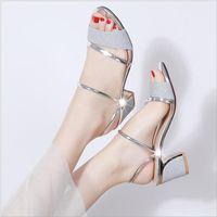 Sandals Ladies Summer Platform Shoes Women Buckle Ankle Mid Heel Pumps Female Party Open Toe Square Zapatos De Mujer