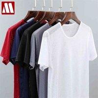남자의 솔리드 메쉬는 Fishnet 티셔츠를 통해 티셔츠를 통해보기 Tshirt 투명 섹시한 짧은 소매 4XL 넥 5 색 mydbsh 210324