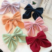 Hair Accessories Sweet Bow Hairpins Solid Color Bowknot Clips For Girls Satin Butterfly Barrettes Duckbill Clip Kids
