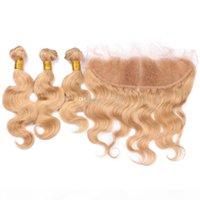 꿀 금발 처녀 머리 3Blesles 레이스 정면 클로저 브라질 # 27 금발의 몸 웨이브 인간의 머리카락 13 * 4 정면