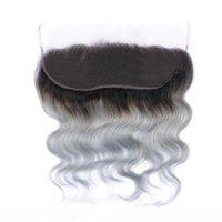 Virgin Peruvian 1b Grigio due toni Body Wave Body Wave Capelli di capelli umani con 13 * 4 Full Pizzo Chiusura frontale Silver Grigio 1B Ombre Bundles dei capelli
