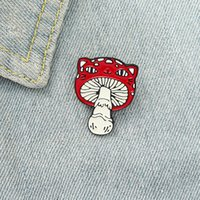 Mini Red Mushroom Frog Cowboy Brooch Alloy Paint Smiling Face Collar Pins Women Girls Backpack Clothes Badge Fashion Accessories Wholesale