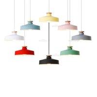 Macaron Color Metal Pendant Lamp Creative Wood Suspension Light Cafe Bakery Shop Hotel Kids Room Blue Green Pink Lighting