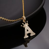 Luxury Copper Zircon A-Z Crown Alphabet Pendant Chain Necklace Punk Hip-Hop Style Fashion Woman Man Initial Name Jewelry