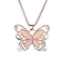 Goldkette Schöne Halskette Mode Rose Gold Überzogene Opal Schmetterling Anhänger Halskette Pullover Kette Geschenk Charm Schmetterlingshals 59 K2