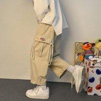 Men's Pants HOUZHOU Black Cargo For Men Joggers Khaki Baggy Wide Leg Trousers Summer Cotton Korean Streetwear