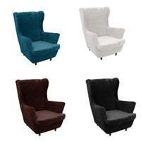 Chair Covers Velvet Fabric Wing Cover Stretch Spandex Armchair Modern Removable Relax Sofa Slipcovers With Seat Cushion