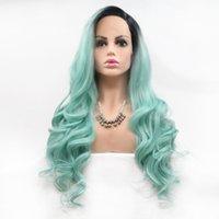 18-26 polegadas coloridas cabelos compridos secos verdes dianteira perucas químicas fibra peruca alta temperatura fábrica de fábrica de vendas diretas