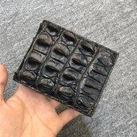 정통 실제 진정한 악어 피부 남자 짧은 bifold 카드 지갑 PO 홀더 정품 악어 가죽 남성 작은 클러치 지갑 지갑