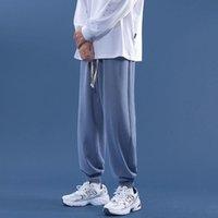 Pantalons Femmes Capris Hybskr Joggers Cordon de survêtement de cordon de standing Pochette 2021 Femme coréenne Couleur Solid Couleur Salon occasionnel d'usure