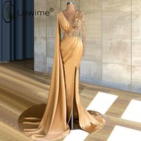 Long Sleeve Arabic Prom Dresses Sheer O-neck 3D Floral Lace Champagne Gold Sexy Slit African Occasion Evening Dress robes