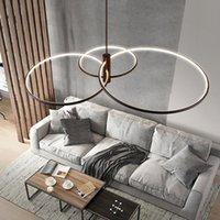 Chandeliers Modern Minimalist Pendant Lamp Led 2 3 Rings Circle Ceiling Hanging Chandelier Loft Living Dining Room Kitchen Lighting Fixture