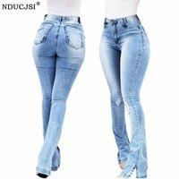 Jeans jeans para mulheres cintura alta reta streetwear rasgado calça botões zipper senhoras dividir flare cuff jeggings mulheres