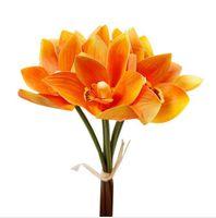 2021 3D-Printed 인공 꽃의 6 머리를 Cymbidium 팜 꽃다발 결혼식 장식 나비 난초 꽃 무리 배경