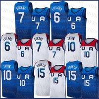 Basketball Jersey Team America 2021 Etats-Unis Tokyo Olympiques d'été Bleu Dark Blanc Damian 6 Lillard Kevin 7 Durant Jayson 10 Tatum Devin 15 Booker Blanc Blanc Bleu
