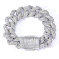 Mens Bling Bracelet 18mm 7 8inch Yellow Gold Plated CZ Miami Cuban Bracelets Chain for Men Women Nice Gift