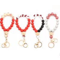 Bangle Red Tree Deer Print Silicone Beads Elastic Bracelets For Women Christmas Original Design Keychains Anti-lost Key Ring