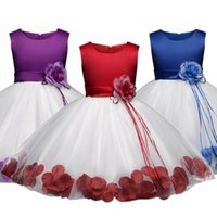 Girl's Dresses 6 Years Flower Petals Tutu Dress Kids Clothing Elegent Wedding Girls For Children Princess Party Costume Formal Vestidos