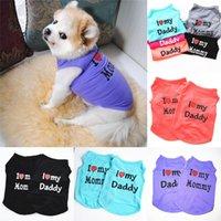 6 ألوان الملابس الكلب مثل بابا و الأم جرو القمصان الصلبة كلاب صغيرة تي شيرت القطن الحيوانات الأليفة اللوازم أبلى بالجملة