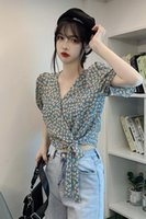 Women's Blouses & Shirts Summer For Women Casual Simple Floral Lacing Fashion V-Neck Puff Sleeves Thin Soft Slim Small Fresh Cool Girl Crop