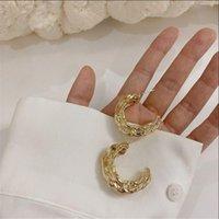 Hoop & Huggie Korea Trendy Retro Hyperbole Twisted Gold Color C-shaped Metal Earrings Personality Geometric Irregular For Women
