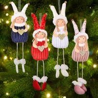 Christmas Decorations Angel Dolls Pendant Xmas Tree Hanging Ornaments Handmade Plush Toy New Year Gift GWE9606