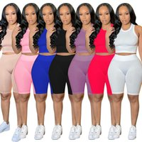 Women tracksuits Crop Top Shorts Sportswear 2 piece set Knitted jogger suits Fitness sweatsuits S-2XL outfits Biker Running Cycling Plain Yoga Clothing DHL 240