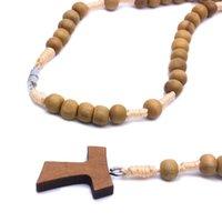 카톨릭 묵주 구슬 손으로 짠된 나무 십자가 목걸이기도 기독교 교회 용품