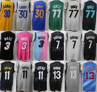 Takım Basketbol Stephen Köri Formalar 30 Luka Doncic 77 Dwyane Wade 3 Kevin Durant 7 James Harden 13 Kyrie Irving 11 Dikişli İyi Erkekler Spor Üniforma Gömlek Giymek