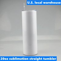RTS local warehouse 20oz Sublimation Straight Tumbler Blank Skinny Tumblers Stainless Steel 2-layer Vacuum Insulated Flask Heat Transfer Car Mug