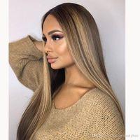 Ombre Blonde Highlights 13x6 Lac Front Menschliche Haarperücken mit Babyhaaren Brasilianische volle Spitze Perücke 360 Schnürsenkel Frontal Natürliche Haaransatz Gebleichte Knoten