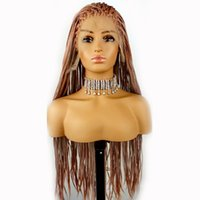 Synthetic Wigs Gray Pink Long Braided Box Braids Lace Frontal Heat Resistant Fiber Hair Cosplay Front Wig For Black Women