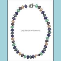 Ожерелья Подвески Ювелирные Изделия8 * 12 мм Рондоль Форма Mticolor Shell Pearl Ожерелье с колесной застежкой для женщин и подарков 18 дюймов Chokers Drop De