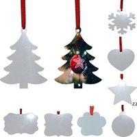 승화 빈 크리스마스 장식 양면 크리스마스 트리 펜던트 멀티 모양 알루미늄 플레이트 금속 매달려 태그 휴일 장식 hwa8879