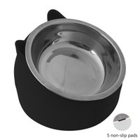 Cat Bowls & Feeders Stainless Steel Dog Food Bowl 15°Slanted Non-slip Pet Utensils Puppy Feeding Container