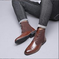 Hot Sale-New Men Warm Winter Plush Fur Snow Boots Lace-Up Motorcycle Boots Handmade Casual Shoes botas Bota Mens Shoes 2019