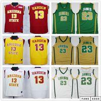 NCAA Mens Arizona State Sun Devils College James # 13 Harden Jersey genäht St. Vincent Mary High School Irish Lebron 23 James Basketball Trikots
